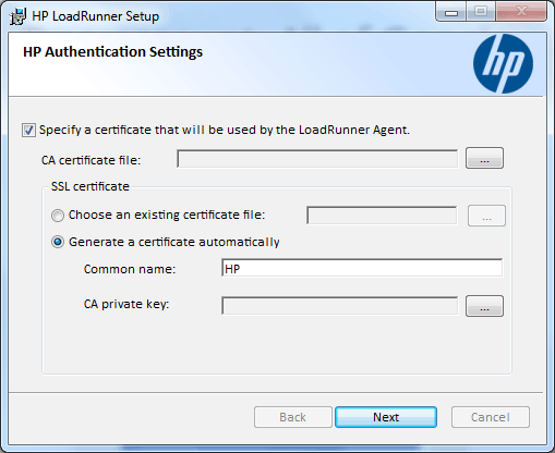 Uncheck Specify Certificate